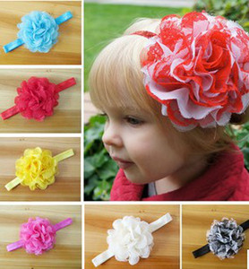 Wholesale handmade infant headbands resale online - Big Lace Multicolor Flowers Baby Girls Headbands Children Hair Accessories Infant Floral Handmade Magical Head Bands B2757