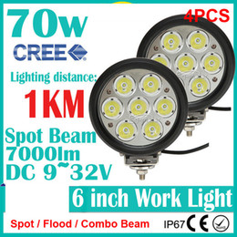 """Wholesale Hid Offroad Flood Lights - 4PCS 6"""" 70W CREE 7LED*10W Driving Work Light Offroad SUV ATV 4WD 4x4 Spot   Flood   Combo Beam 9-32V 7000lm Replace HID Lamp Distance 1KM"""