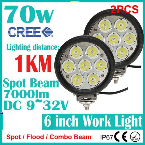 "2PCS 6"" 70W CREE 7LED*(10W) Work Light Driving Spot Off-Road SUV ATV 4WD 4x4 Flood / Combo Beam 9-32V 7000lm JEEP Truck IP67 Replace HID 1KM"