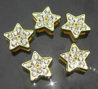 Partihandel 8mm 100st / Rhinestones Guldfärg Star Slide Charm DIY Tillbehör Passar till 8mm Läder Armband Nyckelringar