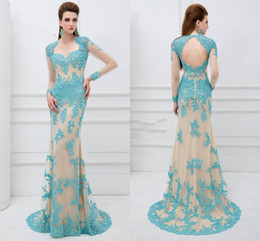 Wholesale Sweetheart Cut Long Pink Dresses - Grace Prom Dresses Sheath Tulle Formal Evening Gowns Beaded Appliques Sheer Long Sleeve Cut-Out Back Sweep Train