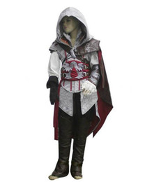 Wholesale Ezio Costume Kids - Child kids White Assassin Creed II 2 Ezio Altair cosplay costume Coat Gift Custom made any size Chirdren