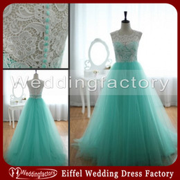 Robe De Bal Turquoise Pas Cher-Turquoise Green Lace Tulle Robes de bal A Line Full Length sans manches Illusion Jewel Neck Formal Evening Party Gowns