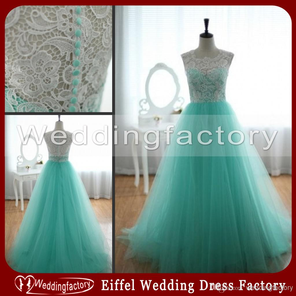 2018 turquoise green lace tulle prom dresses a line full length sleeveless  illusion jewel neck formal evening party gowns from weddingfactory, $124.83