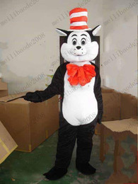 Wholesale Cat Mascot Costume Fancy Dress - NEW Seuss The Cat in The Hat Mascot Costumes Fancy Dress Halloween Party Adult Size MYY8602