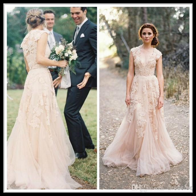 Vintage 2015 Lace Wedding Dresses Champagne Sweetheart Ruffles Bridal Gown Cap Sleeve Deep V Neck Layered