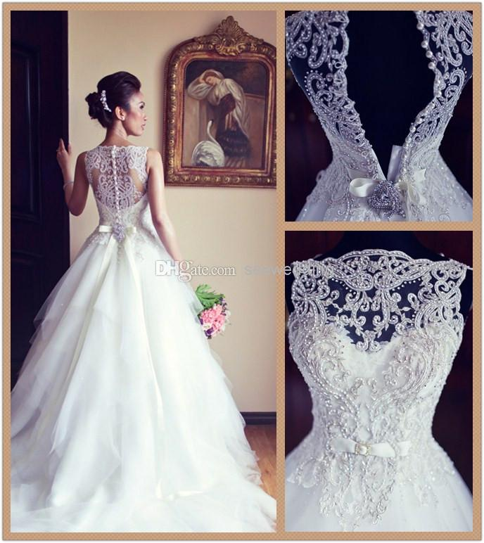 Discount Custom 2014 Veluz Bride Wedding Dresses Bateau Neckline ...