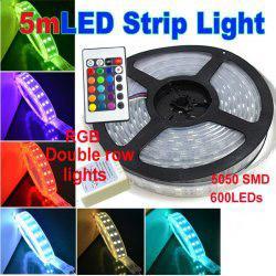 Argentina Luz de tira de Navidad 144W 5050 SMD RGB LED Fila doble 12 voltios 120leds / m 600 LEDs 5m DC 12V Tiras impermeables IP68 6pcs / lot DHL UPS TNT Suministro