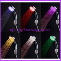Wholesale Changing Color Battery Lights - RGB automatic color changing lighted bathroom LED shower head glow in the dark no battery led shower head water flow power