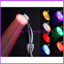 Wholesale Chrome Glow Led - Automatic Control 7 Color LED Shower Head romantic Home Bathroom Water Glow Light water flow power