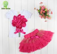 Wholesale kids layered dresses - Wholesale - - New lace Korean girls dresses girl tutu dress layered dress children 3D flowers kids cotton lace dress baby girl dress set