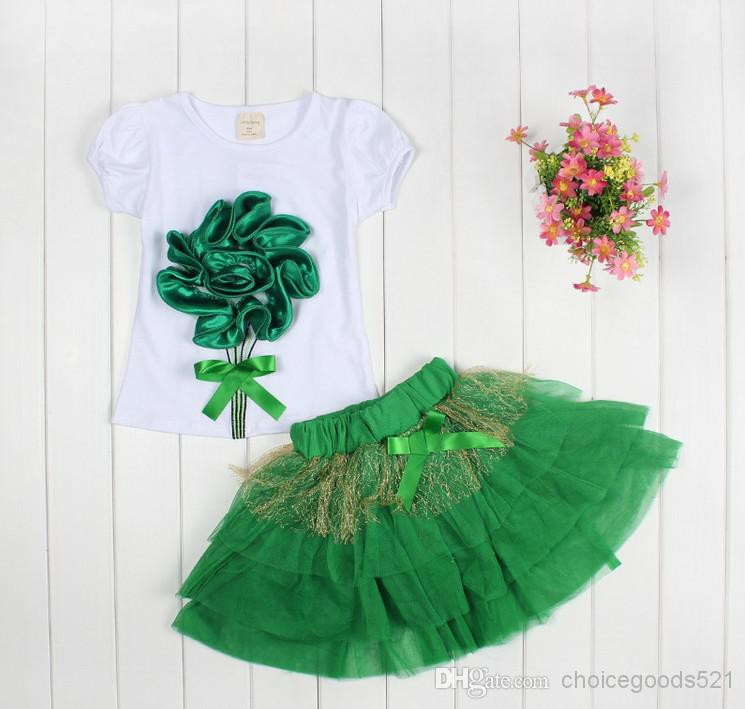 Wholesale - - New lace Korean girls dresses girl tutu dress layered dress children 3D flowers kids cotton lace dress baby girl dress set