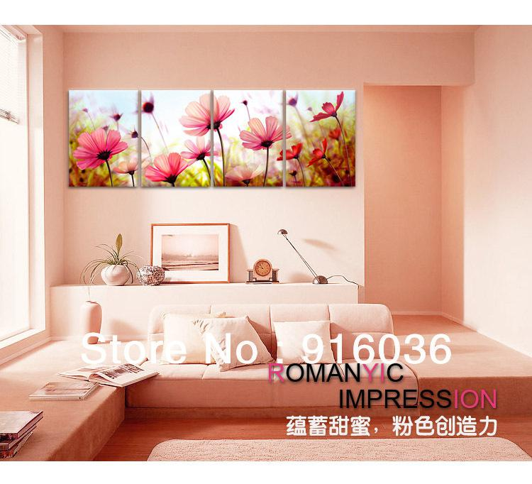 2018 4 Panels Living Room Decorative Canvas Painting Modern Huge ...