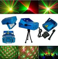 Wholesale Mini Laser Led Lighting - 12pc lot Blue Mini LED Laser Projector DJ Disco Bar Stage House Lighting Light Galaxy