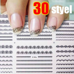 Wholesale Lace French Nail - Wholesale - Super! 30 Sheet Lace 3D Nail Art Sticker Black Flowers Decal Manicure French Style Mix Flower 3073