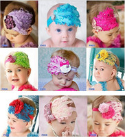 Wholesale Toddlers Tiaras Baby Girls - Infant Baby Toddler Feather Flower Diamond Headband Newborn Toddler Girls Headwear Hairband Head Wear Headbands Photography Prop