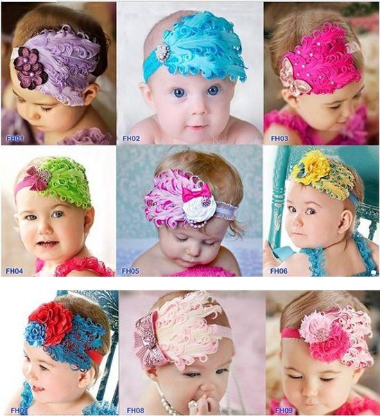 Infant Baby Toddler Feather Flower Diamond Headband Newborn Toddler Girls Headwear Hairband Head Wear Headbands Photography Prop