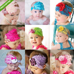 Wholesale Toddlers Tiaras Baby Girls - Infant Baby Toddler Feather Flower Diamond Headband Newborn Toddler Girls Headwear Hairband Head Wear Headbands Headwrap Photography Prop