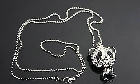 5% off Hot Sales Shiny EXCLUSIVE PANDA necklace!!shiny rhinestone super charming panda necklace chain Cute pendant