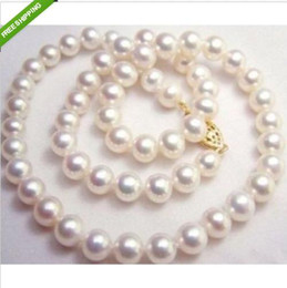 Wholesale Natural White Pearl Necklace - GENUINE NATURAL 9-10MM WHITE SOUTH SEA AAA+ PEARL NECKLACE 20 INCH 14k