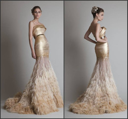 Wholesale Mermaid Wedding Dresses Feathers - New Designer Luxury Gold Color Gown Strapless Sequins Tulle Feathers Mermaid Long Train Appliques Bridal Wear Wedding Dress Free Shipping