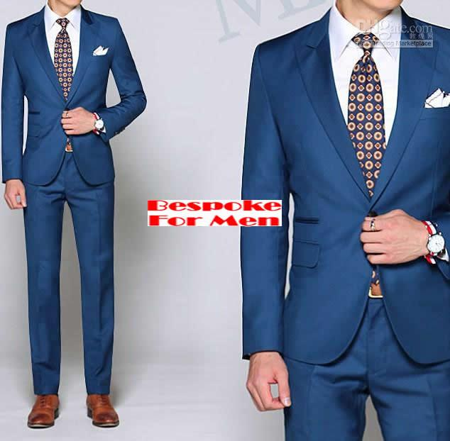 Cheap Custom Made Blue Suits;Peak Lapel, 1 Butons, Double Pocket ...