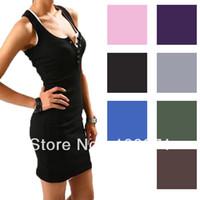 Wholesale Grey Women Dress Vest - 2014 Free shipping Summer Sexy Women Lady Sleeveless Long Tank Vest Shirt Tops Mini Dress #23792