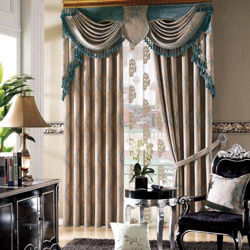 New European Style Customized Poly Jacquard Bedroom Window Curtains ...