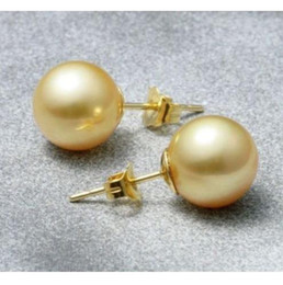 Wholesale South Sea Gold Loose Pearl - PAIR OF PERFECT ROUND 9MM SOUTH SEA GOLD LOOSE PEARL STUD EARRING 14K