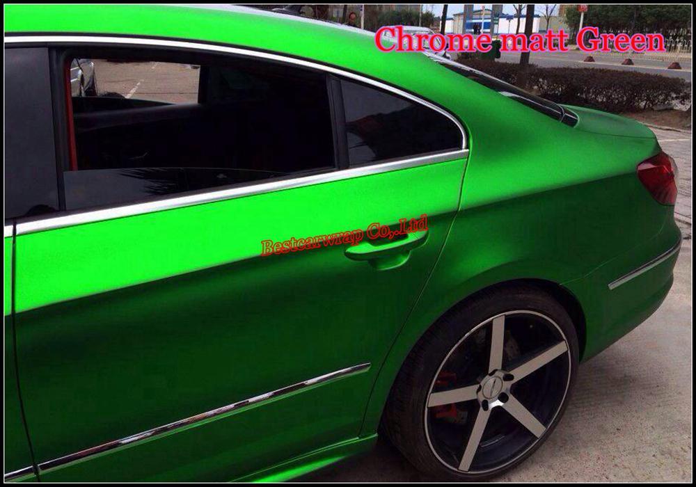 Атласная зеленая матовая хромированная виниловая пленка для автомобиля Стикер автомобиля Листовая пленка Air Bubble Free Chrome зеленая матовая полная автомобильная пленка 1.52x20m / Roll Бесплатная доставка
