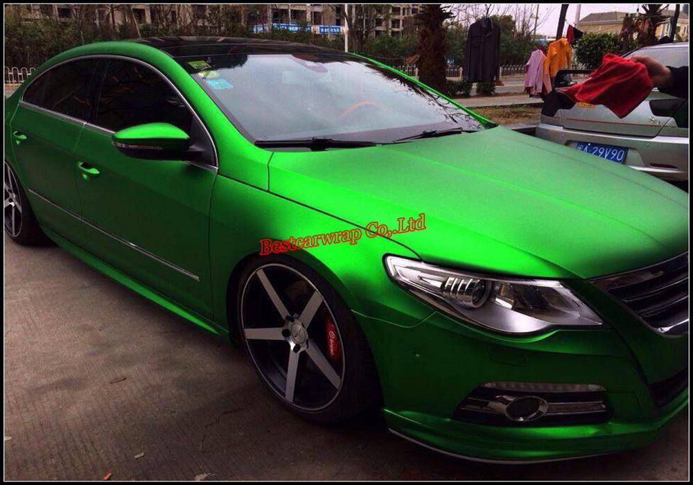 Satin Chrome Green Vinyl Bilförpackning Film med Air Release Matte Chrome Green Wrap Folie Fordon Styling Hud 1.52x20m / Roll Fri frakt