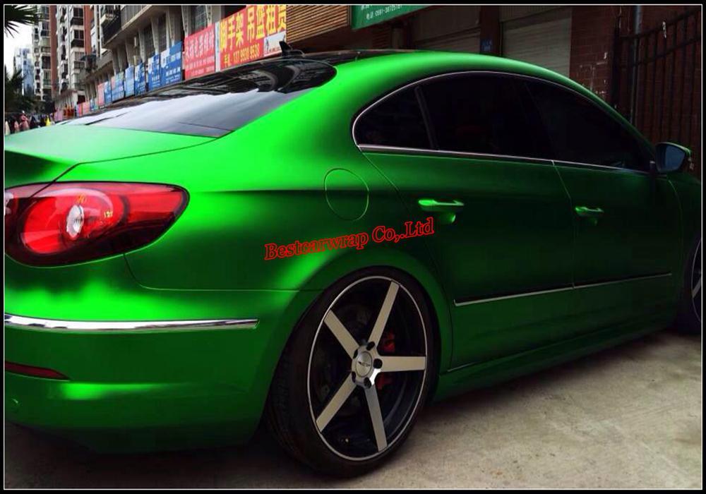 Сатин Хромированная зеленая виниловая машина для упаковки автомобилей с воздушным высвобождением Матовая хромированная зеленая пленка фольга укладки автомобиля кожа 1.52x20m / Roll Бесплатная доставка