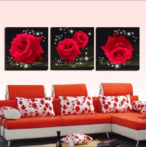 3 pezzo spedizione gratuita vendita calda parete moderna pittura decorativa domestica immagine arte pittura su tela stampe le belle rose rosse