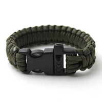 Wholesale Paracord Buckles Whistles - Free Shipping Outdoor Whistle Buckle Paracord bracelet Cord Emergency Survival Camping Kits