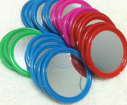 Wholesale Compact Hand Mirrors - portable pocket plastic mirror multi color simple Compact hand Cosmetic Make Up wholesale