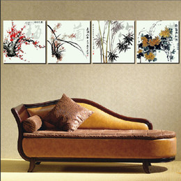 $enCountryForm.capitalKeyWord Canada - 4 Piece Free Shipping Hot Sell Modern Wall Painting Home Decorative Art Picture Paint on Canvas Prints Ancient Chinese favorite four plants