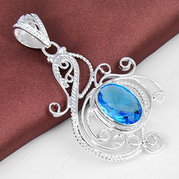 Wholesale Blue Topaz Sterling Jewelry - New Sale Top Fashion Lockets Sterling Silver Jewelry Jewelry Necklace 925 Sterling Silver Rainbow Oval Blue Topaz Crystal Pendant P0960