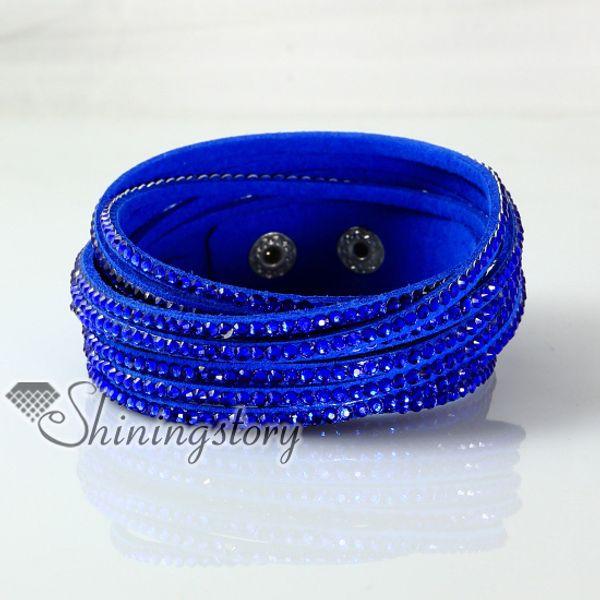 best selling leather crystal rhinestone multi layer snap wrap slake bracelets braided leather bracelet handmade leather bracelet