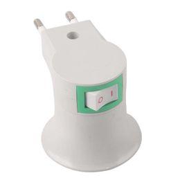 Wholesale Socket Adapter Eu - New E27 LED Light Male socket to EU Type Plug Adapter Converter W  ON OFF Button # 51701