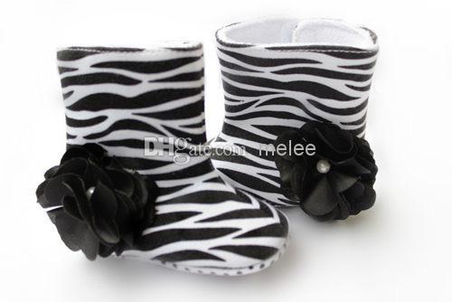 New Spring Autumn Winter Baby Kids Boots Zebra Black Big Flower 0-2Year Toddler Boys girls First Walker Boots Infant Shoes Melee