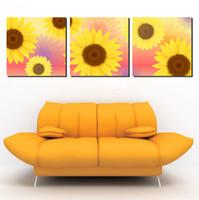 ingrosso stampe di girasole stampa-3 pannello vendita calda parete moderna pittura decorativa domestica immagine pittura su tela stampe Il calore di affascinante girasole bello