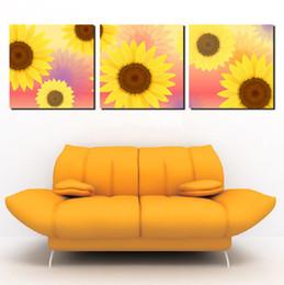 Sonnenblumenbilder drucken online-3 Panel Hot Sell Moderne Wandmalerei Home Dekorative Kunst Bild Malen auf Leinwand Die Wärme der charmanten schönen Sonnenblume