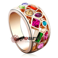 Wholesale Diamond Ring 18 - Yoursfs Fashion Jewelry Cute Colorful Austrian Crystal Rings 18 K Gold Plated Simulated Diamond Brillante Wedding Ring for Women Gift R127R1