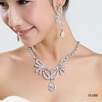 Wholesale holy ring for sale - Group buy 2019 beautiful fairy Holy Wedding party Rhinestone Jewelry Crystal Necklace bracelet Pierced earring jewelry set for prom party gowns