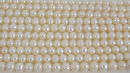 Wholesale Loose Pearl Strands - New Arriver White Color Genuine Freshwater Pearl Loose Beads Strands 6mm 15 Inches Pearl Jewelry,New Free Shipping.