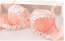 Wholesale Sweet Girl Bra - Gather a small chest deep v thin section thicker lovely sweet girl lace bra sets lingerie bra set pink