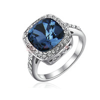 Wholesale cocktail diamond ring - Yoursfs Rings Blue Crystal Statement 18 K White Gold Plated Lady Emulational Diamond Fashion Jewelry Big Stone Rings for Women Cocktail