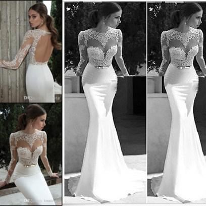 Exclusive Berta Lace Mermaid Wedding Dresses Crew Neck Sheer Long Sleeves Backless Gold Belt Chapel Train White Satin Bridal Gowns