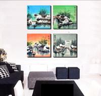 pintura china antigua al por mayor-4 Unidades Envío Gratis Venta Caliente Moderna Pintura de Pared Home Decorativo Arte Imagen Pintura Lienzo Prints Ancient Chinese jiangnan scenery