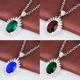 Wholesale Wholesale Gemstones India - four color 925 sterling silver gemstone Sweate pendant stone jewelry india